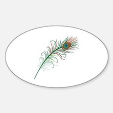 Unique Red peacock feather Sticker (Oval)