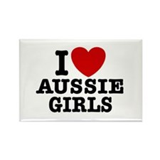 I Love Aussie Girls Rectangle Magnet