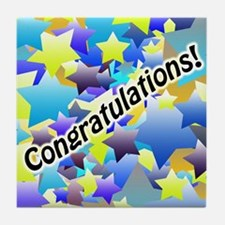 Congratulation Stars Tile Coaster
