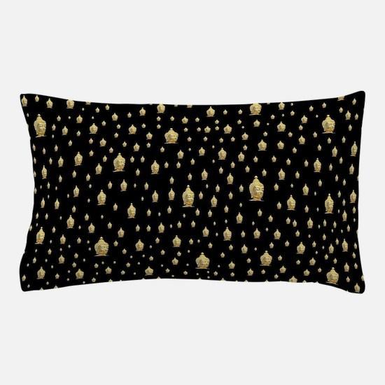 golden buddha in black Pillow Case