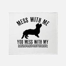 Mess With Dandie Dinmont Terrier Throw Blanket