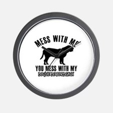 Mess With Dogue De Bordeaux Wall Clock