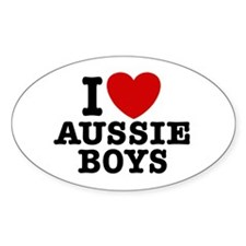 I Love Aussie Boys Oval Decal