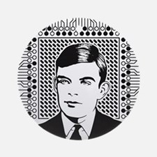 Alan Turing Portrait Round Ornament