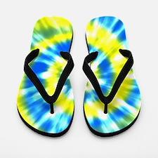Summer Tie Dye - Yellow And Aqua Flip Flops
