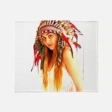 Cute Native american woman Throw Blanket