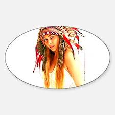 Unique Native american woman Sticker (Oval)