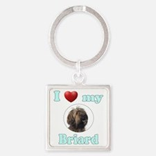 I Love My Briard Square Keychain