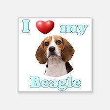"I Love My Beagle Square Sticker 3"" x 3"""