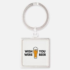 Wish You Were Beer Square Keychain