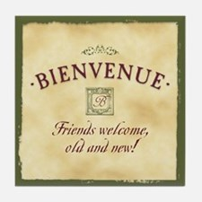 Bienvenue -- A French Welcome Tile Coaster, Olive