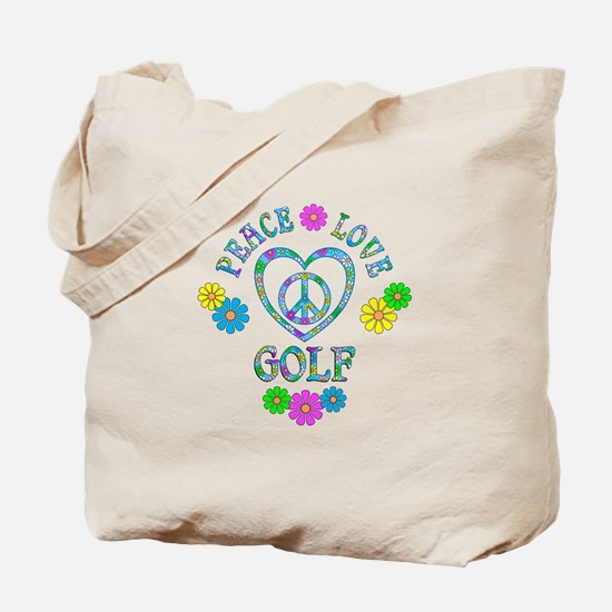 Peace Love Golf Tote Bag