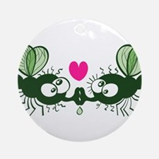 Ugly flies kissing and falling in l Round Ornament
