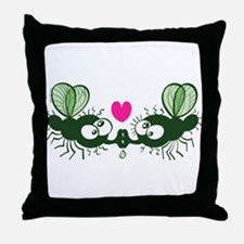 Ugly flies kissing and falling in lov Throw Pillow