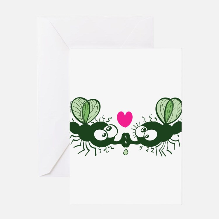 Ugly flies kissing and falling in l Greeting Cards