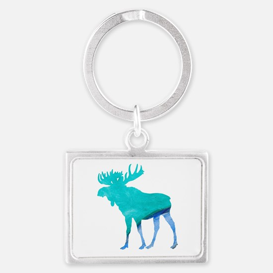 Turquoise and Blue Moose Keychains