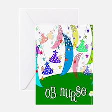 OB Nurse Moons Babies Greeting Cards