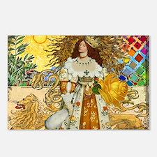 Vintage Lion Leo Princess Gold Whimsical Postcards