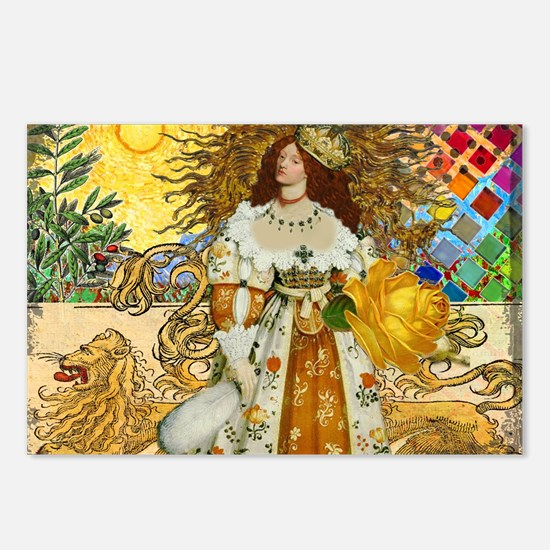 Vintage Lion Leo Princess Gold Whimsical Postcards