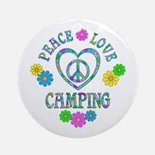 Peace Love Camping Round Ornament