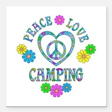 "Peace Love Camping Square Car Magnet 3"" x 3"""