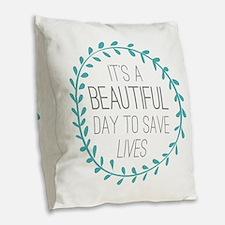 Greys Anatomy Its A Beautiful Burlap Throw Pillow