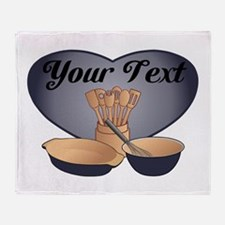 Cook or Chef Personalized Dark Blue Throw Blanket