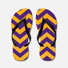 Chevron Pattern: Purple & Gold Zig Zags Flip Flops
