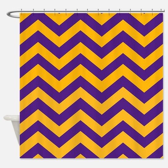 Chevron Pattern: Purple & Gold Zig Shower Curtain