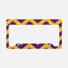 Chevron Pattern: Purple & Gol License Plate Holder