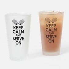 Tennis Humor: Keep Calm and Serve On Drinking Glas