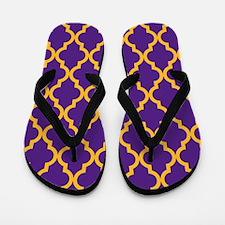 Moroccan Quatrefoil Pattern: Purple & G Flip Flops