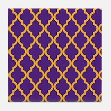 Moroccan Quatrefoil Pattern: Purple & Tile Coaster