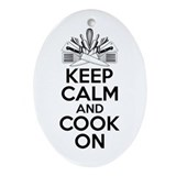 Keep calm and cook on Oval Ornaments