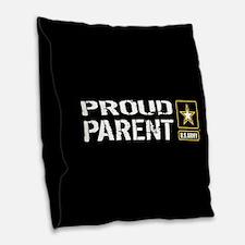 U.S. Army: Proud Parent (Black Burlap Throw Pillow
