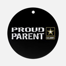 U.S. Army: Proud Parent (Black) Round Ornament