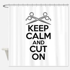 Barber Humor: Keep Calm and Cut On Shower Curtain