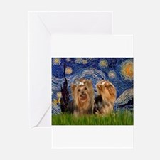 Starry Night & Yorkie Pair Greeting Cards (Package