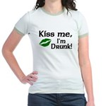 Kiss Me I'm Drunk Jr. Ringer T-Shirt