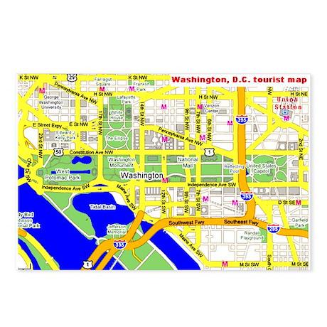 Washington, D.C. tourist map Postcards (Package o