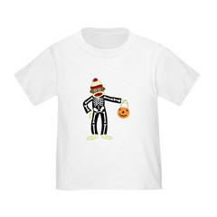 Sock Monkey Halloween Skeleton Toddler T-Shirt