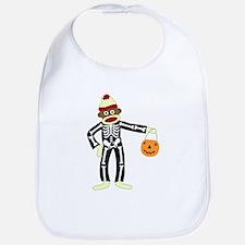 Sock Monkey Halloween Skeleton Baby Bib