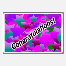 Congratulation Stars Purple Banner