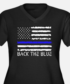 Cute Thin blue line Women's Plus Size V-Neck Dark T-Shirt