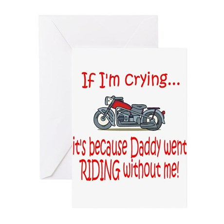 Biker Baby Cry - DAD Greeting Cards (Pk of 10)