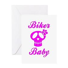 Biker Baby Skull Pink Greeting Card