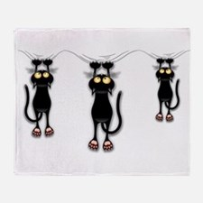 Fun Black Cat Falling Down Throw Blanket