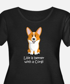 Life-is-better-with-a-Corgi-dark Plus Size T-Shirt