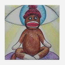 Yoga Sock Monkey Tile Coaster