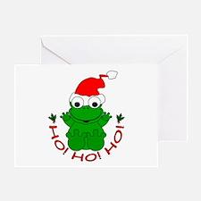 Cartoon Frog Santa Greeting Card